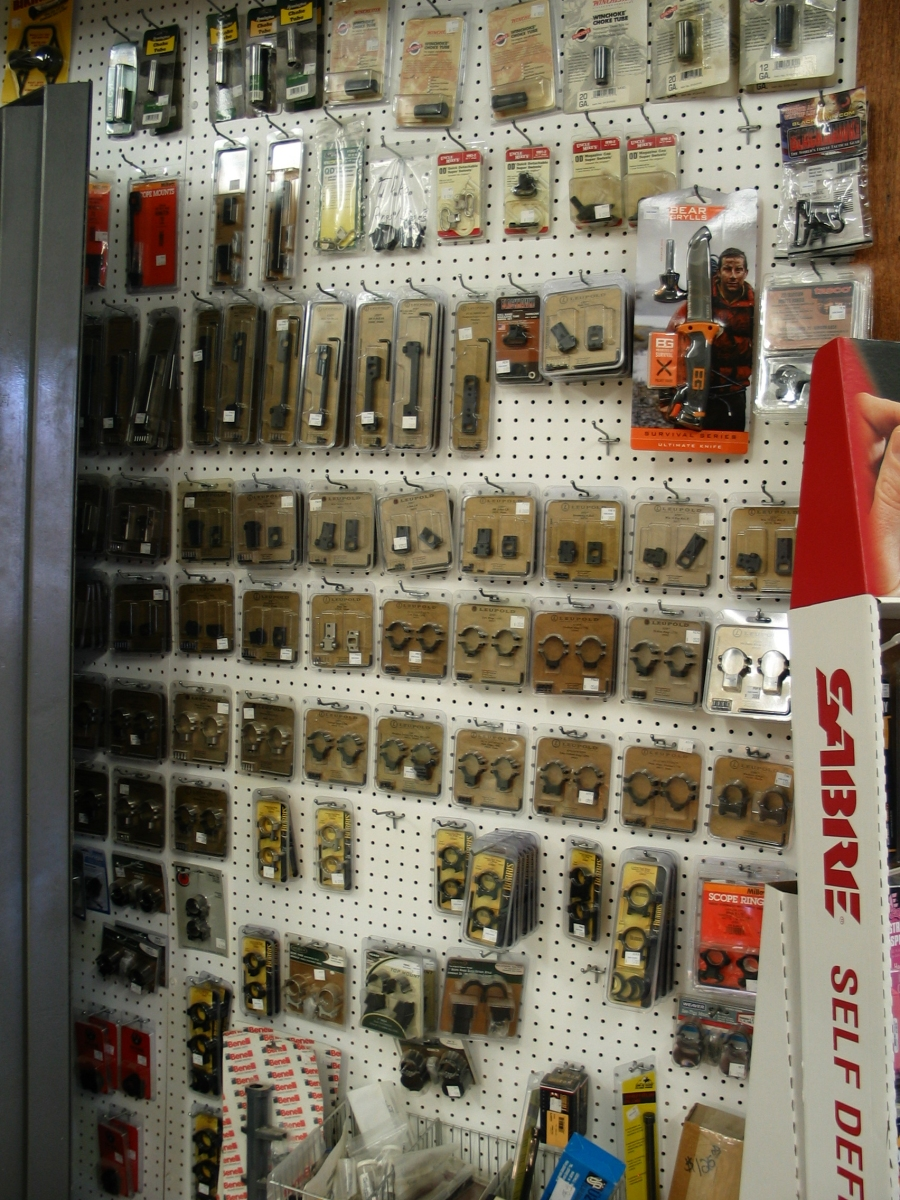 wall of gun accessories